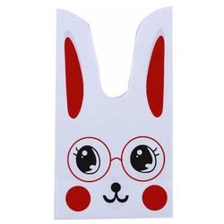 50x Uitdeelzakjes Wit - Rood Konijn 13 x 22 cm - Plastic Traktatie Kado Zakjes - Snoepzakjes - Koekzakjes - Koekje - Cookie Bags - Pasen - Kinderverjaardag