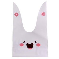 50x Uitdeelzakjes Wit - Roze Lachend Konijn 13 x 22 cm - Plastic Traktatie Kado Zakjes - Snoepzakjes - Koekzakjes - Koekje - Cookie Bags - Pasen - Kinderverjaardag
