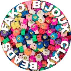Fako Bijoux® - Klei Kralen Bloem Smiley / Emoji Mix - Figuurkralen - Kleikralen - 10mm - 100 Stuks