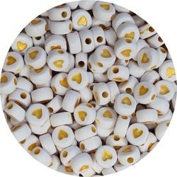 Fako Bijoux® - Hartjes Kralen - Acryl - 7mm - Sieraden Maken - 250 Stuks - Wit/Goud