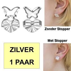Fako Bijoux® - Magic Oorbel Lifter - Anti-Kantel Stopper - Vlinder - 2 Stuks - Zilverkleurig