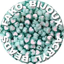 Fako Bijoux® - Acryl Kralen - Hartjes Duo - 8mm - Sieraden Maken - 200 Stuks - Mintgroen