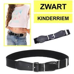 Fako Fashion® - Kinderriem Elastisch Oval - Elastische Riem Voor Kinderen - Rekbare Riem - Broekriem - Stretch Riem - Zwart