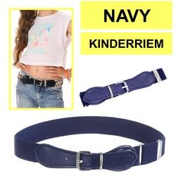 Fako Fashion® - Kinderriem Elastisch Oval - Elastische Riem Voor Kinderen - Rekbare Riem - Broekriem - Stretch Riem - Navy Blauw