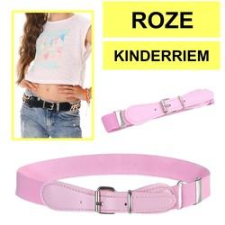Fako Fashion® - Kinderriem Elastisch Oval - Elastische Riem Voor Kinderen - Rekbare Riem - Broekriem - Stretch Riem - Roze