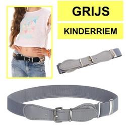 Fako Fashion® - Kinderriem Elastisch Oval - Elastische Riem Voor Kinderen - Rekbare Riem - Broekriem - Stretch Riem - Grijs