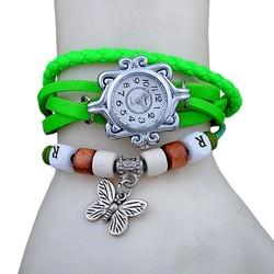 Fako® - Armband Horloge - Vlinder - Fluor Groen
