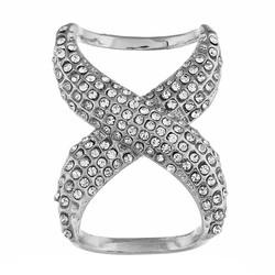 Fako Bijoux® - Sjaalklem - Infinity - Kristal - 30x40mm - Zilverkleurig