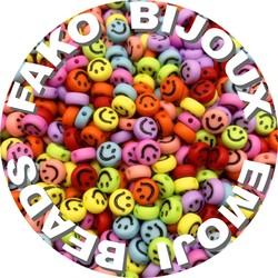 Fako Bijoux® - Emoji / Smiley Kralen - Acryl - 7mm - Sieraden Maken - 250 Stuks - Mix