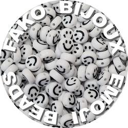 Fako Bijoux® - Emoji / Smiley Kralen - Acryl - 7mm - Sieraden Maken - 250 Stuks - Wit