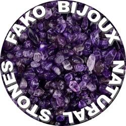 Fako Bijoux® - Stukjes Natuursteen - Natuursteen Chips - Stukjes Onregelmatige Natuursteen Split In Doosje - 5-8mm - 60-70 Gram - Amethist