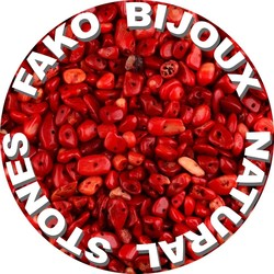 Fako Bijoux® - Stukjes Natuursteen - Natuursteen Chips - Stukjes Onregelmatige Natuursteen Split In Doosje - 5-8mm - 60-70 Gram - Imitatie Rood Koraal