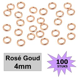 Fako Bijoux® - Oogjes - Ringetjes - Sieraden Maken - Rosé Goudkleurig - 4mm - 100 Stuks