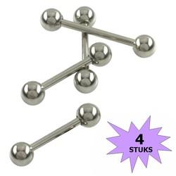 Fako Bijoux® - Barbell Piercing - 22mm - Zilverkleurig - 4 Stuks