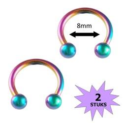 Fako Bijoux® - Circular Barbell Piercing - Hoefijzer 8mm - Multicolor - 2 Stuks