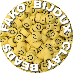 Fako Bijoux® - Klei Kralen Smiley / Emoji Geel - Figuurkralen - Kleikralen - 10mm - 100 Stuks