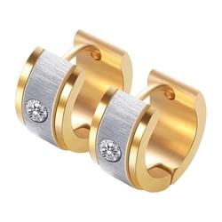 Fako Bijoux® - Oorbellen - Oorringen - Stainless Steel - Geborsteld Kristal - 7mm Breed - Goud/Zilver