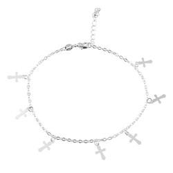 Fako Bijoux® - Enkelbandje - Kruisjes - Zilverkleurig
