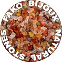 Fako Bijoux® - Stukjes Natuursteen - Natuursteen Chips - Stukjes Onregelmatige Natuursteen Split In Doosje - 5-8mm - 60-70 Gram - Rode Agaat
