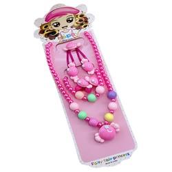 Fako Bijoux® - Kindersieraden Set - Kinderketting & Armband - Plastic - Snoepje - Donkerroze
