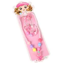 Fako Bijoux® - Kindersieraden Set - Kinderketting & Armband - Plastic - Beertje - Lichtroze