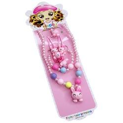 Fako Bijoux® - Kindersieraden Set - Kinderketting & Armband - Plastic - Konijntje - Lichtroze