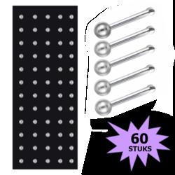 Fako Bijoux® - Neuspiercing - Stud - Staafje RVS - Staal - 2mm - Zilverkleurig - 60 Stuks
