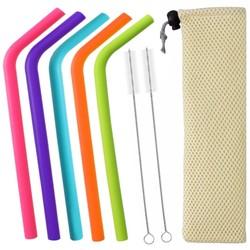 Fako Bijoux® - Siliconen Rietjes Set -  5 Herbruikbare Dikke Gebogen Rietjes - 22 cm - Duurzaam en Hygiënisch - 2 Schoonmaakborstels - Mesh Zakje