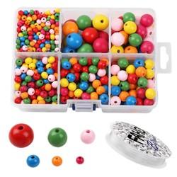 Fako Bijoux® - DIY Houten Kralen Set - Gekleurd - Sieraden Maken - 6-20mm - 1105 Stuks