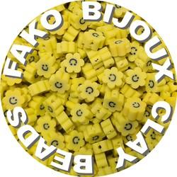 Fako Bijoux® - Klei Kralen Bloem Smiley / Emoji Geel - Figuurkralen - Kleikralen - 10mm - 100 Stuks