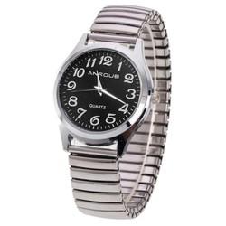 Fako® - Horloge - Rekband - Anroub - Ø 36mm - Zwart