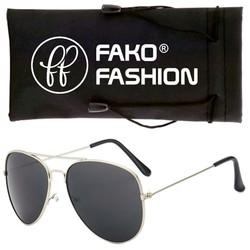 Fako Fashion® - Pilotenbril - Aviator Zonnebril - Zilver - Zwart
