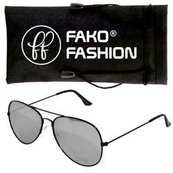 Fako Fashion® - Pilotenbril - Aviator Zonnebril - Zwart - Zilver