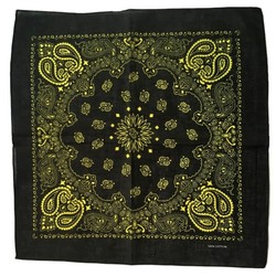 Fako Fashion® - Paisley Bandana - Two Tone Black - 2-Kleurig - Zwart-Geel