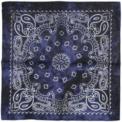 Fako Fashion® - Paisley Bandana - Tie Dye - Acid Wash - Navy Blauw