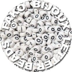 Fako Bijoux® - Letterkralen O - Letter Beads - Alfabet Kralen - Klinkers - Sieraden Maken - 250 Stuks - Wit