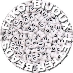 Fako Bijoux® - Letterkralen U - Letter Beads - Alfabet Kralen - Klinkers - Sieraden Maken - 250 Stuks - Wit