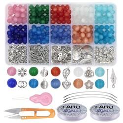 """Fako Bijoux® - DIY Glas Kralen Set - Glaskralen """"Cat's Eye"""" - Kattenoog Kralen - Sieraden Maken Kit - Zelf Sieraden Maken - 8mm - 500 Stuks"""