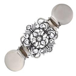Fako Bijoux® - Vestsluiting - Vestclip - Barok - Kristal - Zilverkleurig