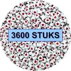 Fako Bijoux® - Hartjes Kralen Bulk - Acryl - 7mm - Sieraden Maken - 3600 Stuks - Wit/Rood