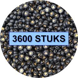 Fako Bijoux® - Hartjes Kralen Bulk - Acryl - 7mm - Sieraden Maken - 3600 Stuks - Zwart/Goud