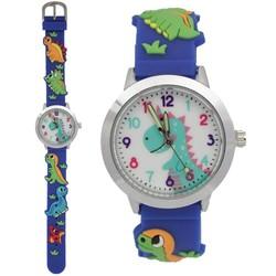 Fako® - Kinderhorloge - 3D - Dinosaurus - Blauw