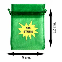 Fako Bijoux® - Organza Zakjes - 9x12cm - Donkergroen - 100 Stuks
