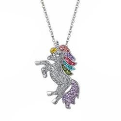 Fako Bijoux® - Ketting Met Hanger - Eenhoorn / Unicorn - Crystal - Kinderketting - Zilverkleurig
