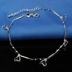 Fako Bijoux® - Enkelbandje Verzilverd - Open Hartjes Staafjes - 21cm - Zilverkleurig