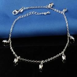 Fako Bijoux® - Enkelbandje Verzilverd - Tulpen - 23cm - Zilverkleurig