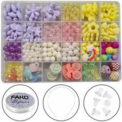 Fako Bijoux® - Kralen Set Pastel - Acryl - Sieraden Maken - Box - 400 Stuks - Paars/Wit/Roze/Geel