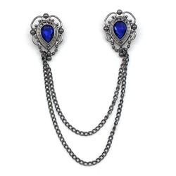 Fako Bijoux® - Vestsluiting - Vestclip - Broche - Druppel - Kristal - Blauw -  Antraciet