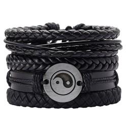 Fako Bijoux® - Armband - Leder - Set Yin Yang - 5 Stuks - Zwart