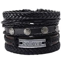 Fako Bijoux® - Armband - Leder - Set Believe - 5 Stuks - Zwart/Bruin